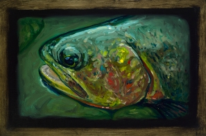 """Cutthroat Trout III, Lamar Valley, Yellowstone Park, 6"""" x 8.75"""", Oils on Plaster"""