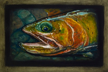 """Cutthroat Trout IV, Lamar Valley, Yellowstone Park, 6"""" x 8.75"""", Oils on Plaster Panel"""