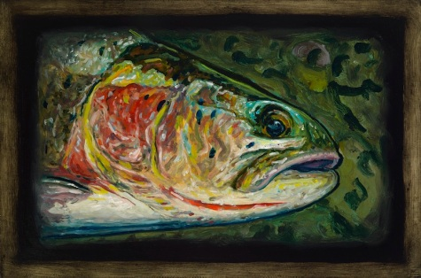 """Cutthroat Trout V,Lamar Valley, Yellowstone Park,6"""" x 8.75""""Oils on Plaster Panel"""