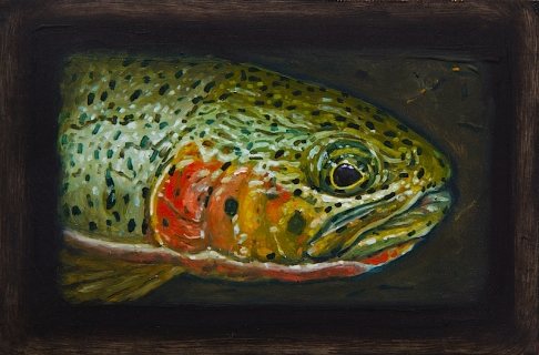 "Westslope Cutthroat Trout I, West Fork of Bitterroot River, Montana 6"" x 8.75"" Oils on Plaster Panel"