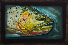 """Westslope Cutthroat Trout III, West Fork of Bitterroot River, Montana 6"""" x 8.75"""" Oils on Plaster Panel"""