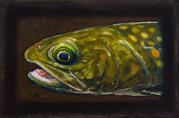 """Bull Trout, West Fork of Bitterroot River, Montana 6"""" x 8.75"""" Oils on Plaster Panel"""