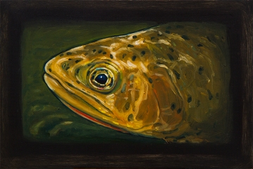 """Westslope Cutthroat Trout IV, West Fork of Bitterroot River, Montana 6"""" x 8.75"""" Oils on Plaster Panel"""