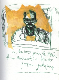 Sketchbook D 2 - Self-portrait in window on bus