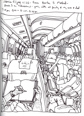Sketchbook J 15 - Airplane - Boston to Madrid