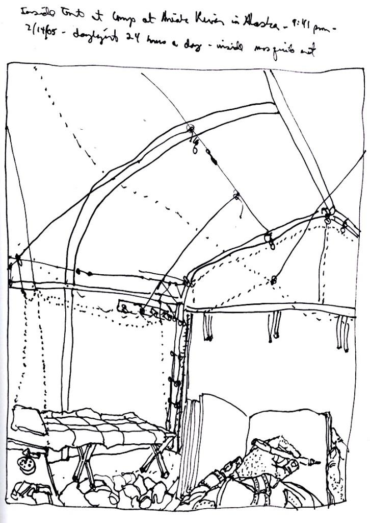 Sketchbook T 10 - Inside tent, Aniak, Alaska