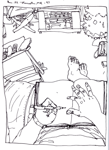 Sketchbooks K 27 - Christmas, December 22, Living Room, Gloucester, MA