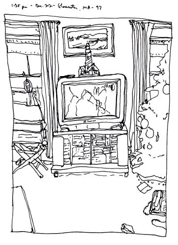 Sketchbooks K 29 - Christmas, December 22, Living Room, Gloucester, MA