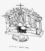 Sketchbooks K 3 - Ashtray and Nativity, Dunkirk, NY