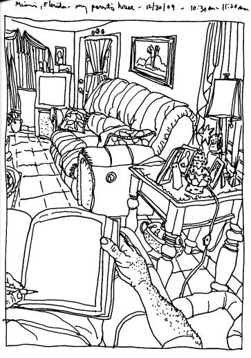 Sketchbooks T 22 - Living Room - Parent's House - Miami, FL