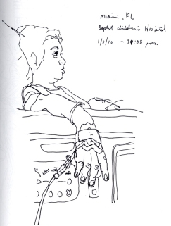 Sketchbooks T 25 - Diego Watching TV in Hospital - Miami, FL
