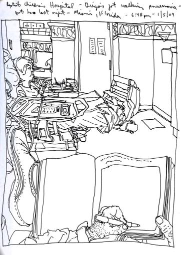 Sketchbooks T 26 - Diego in Hospital - Miami, FL