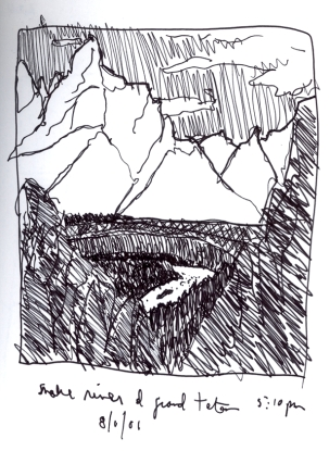 Sketchbooks S 14 - Snake River in Tetons - Yellowstone
