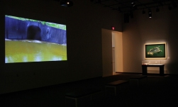 Installation view of the tunnel video and a painting of a dead muskrat