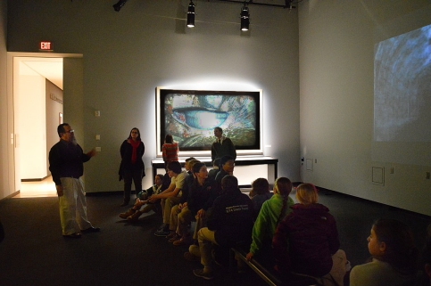 In video room at the Burchfield Penney Art Center, Buffalo, NY