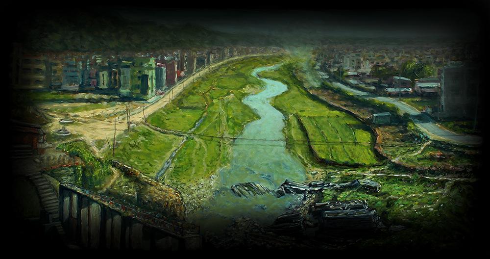Bagmati River flowing into Kathmandu, Nepal revised dark website 72